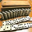 Vintage Dominoes Set Ebony & Ivory in wood box