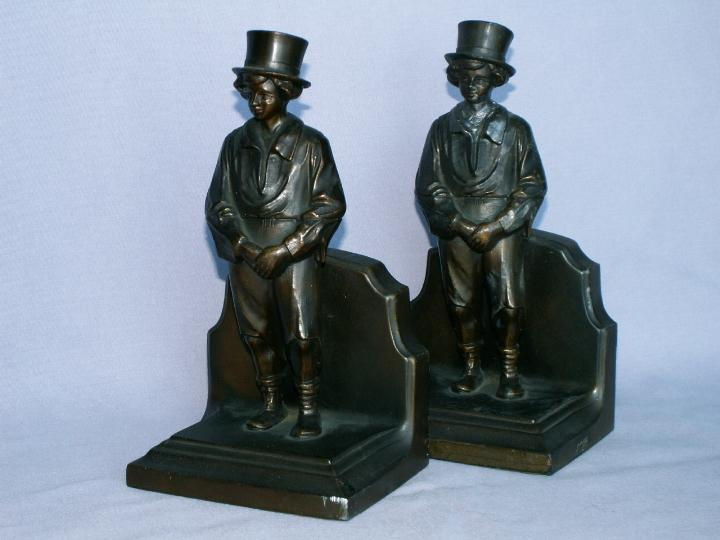 Cast Metal YOUNG MAN IN TOP HAT Bookends - Metalware