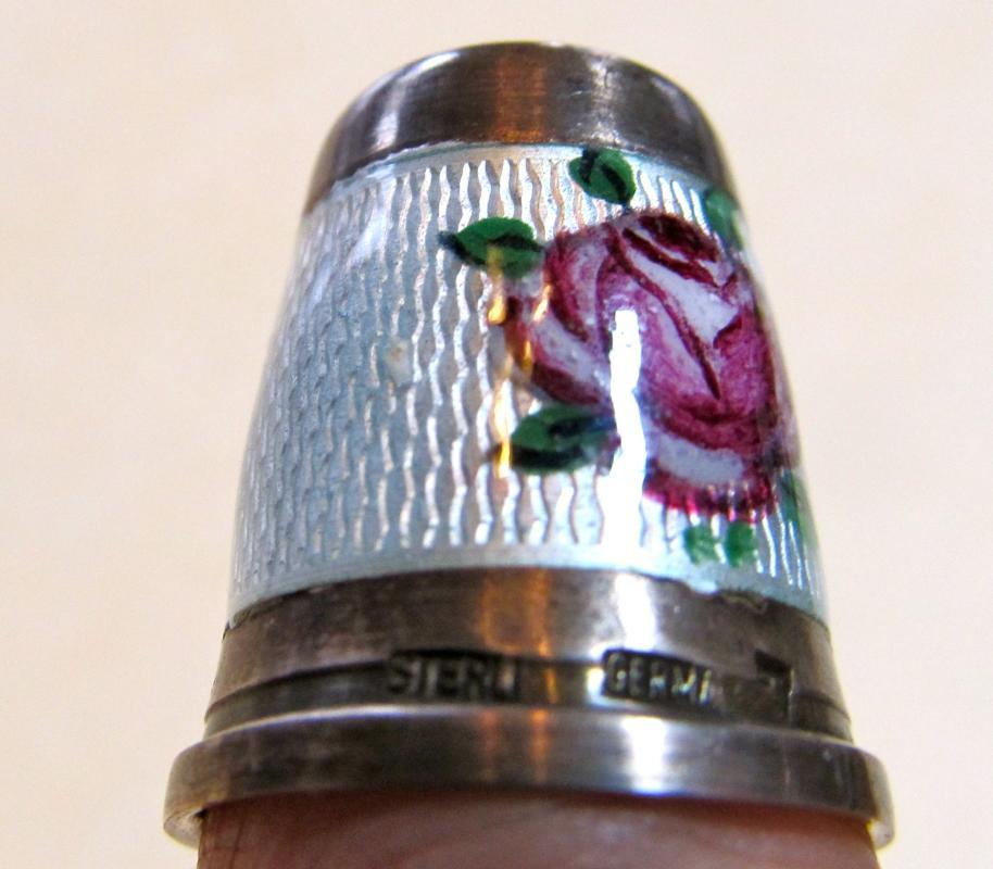 Enameled Thimble Sterling Stone - Silver