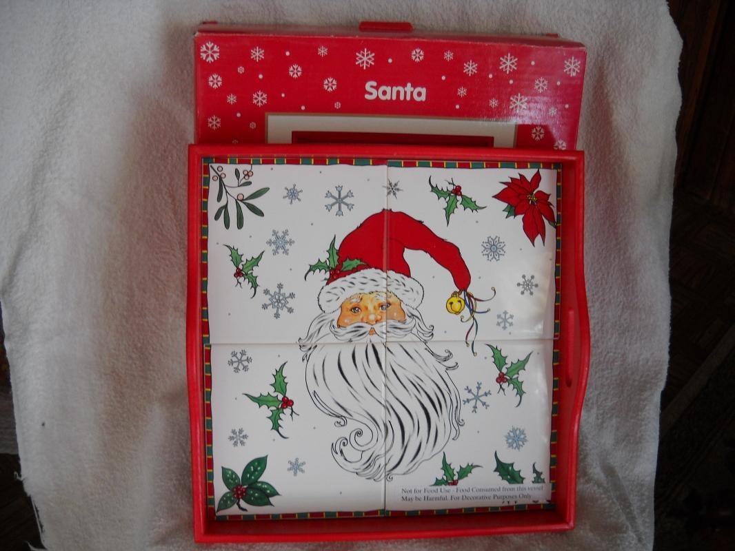 Ceramic tile and wood Chrismas tray.SANTA. JCPenney