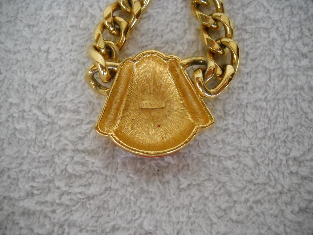Monet gold tone with red necklace