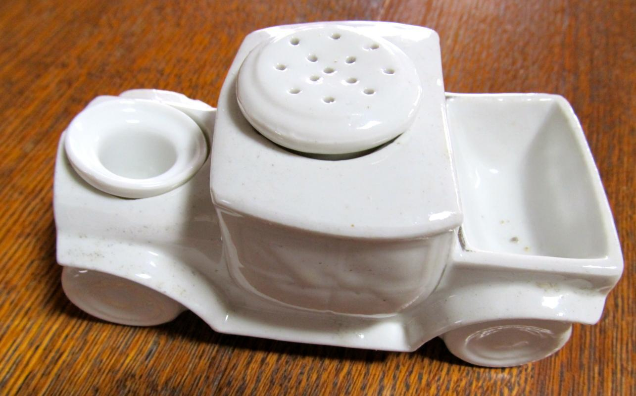 Inkwell Ink Well Pounce Pot  Old Truck - fine porcelain