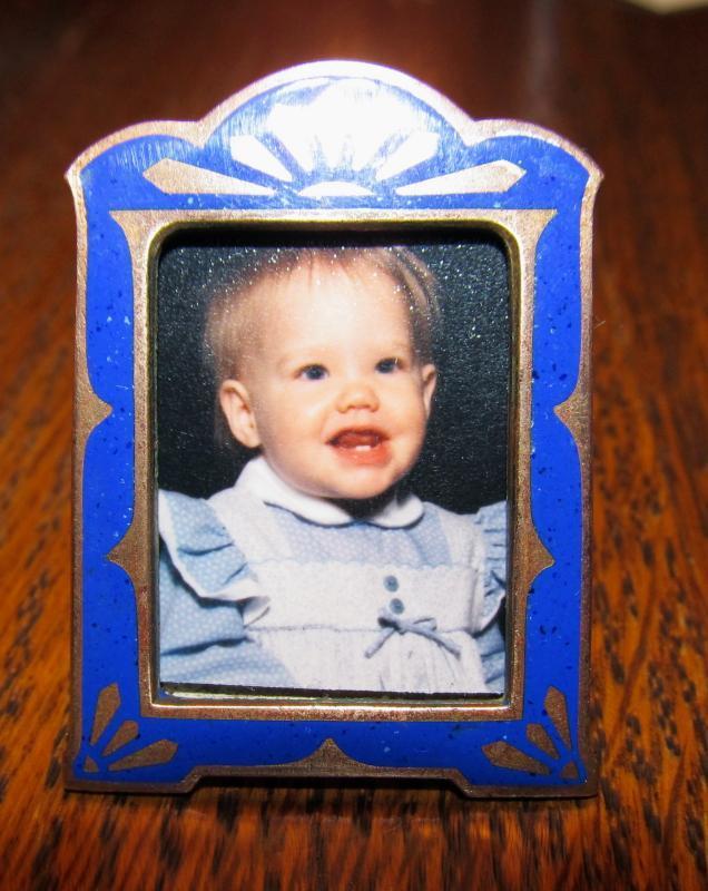 Blue Embossed Bronze Mini Frame - Metalware