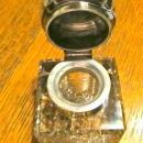 Cut glass Sterling Inkwell Ink Well - Metalware