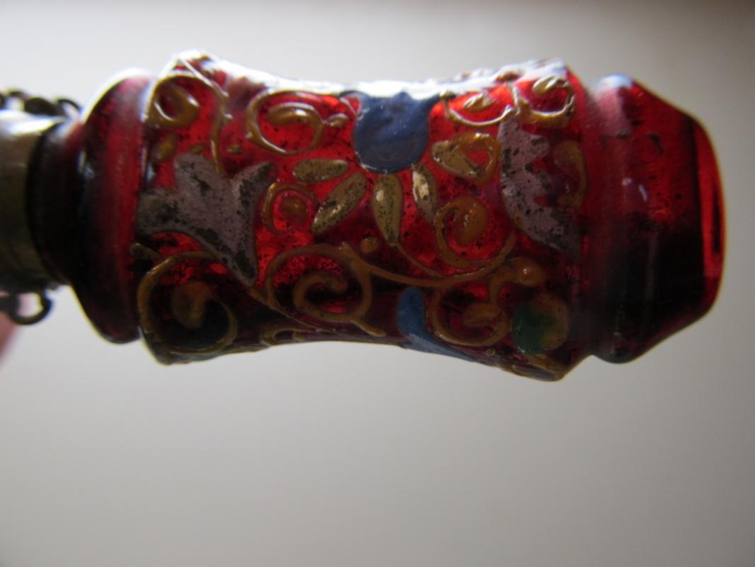 Enameled Ruby Glass Perfume - Glass