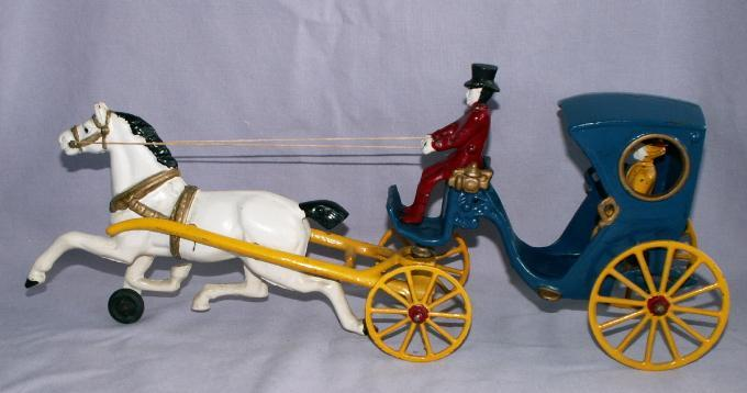 Kenton Cast Iron Horse Drawn Hansom Cab - Toys