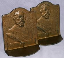HENRY LONGFELLOW Cast Iron Bookends - Metalware