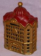 Domed BANK BUILDING Cast Iron Bank - Toys