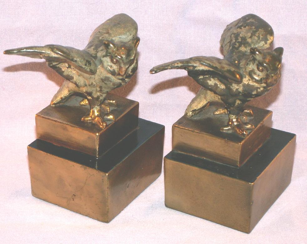 Pompeian Bronze OWL Bookends - Metalware