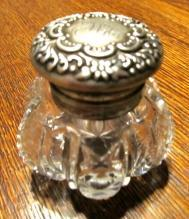 Wilcox Rococo Sterling Lid Crystal Inkwell - Glass