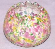 Art Glass Multicolored Flower  Rose Bowl