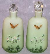 Two Hand Painted Glass Cologne Bottles with Stoppers