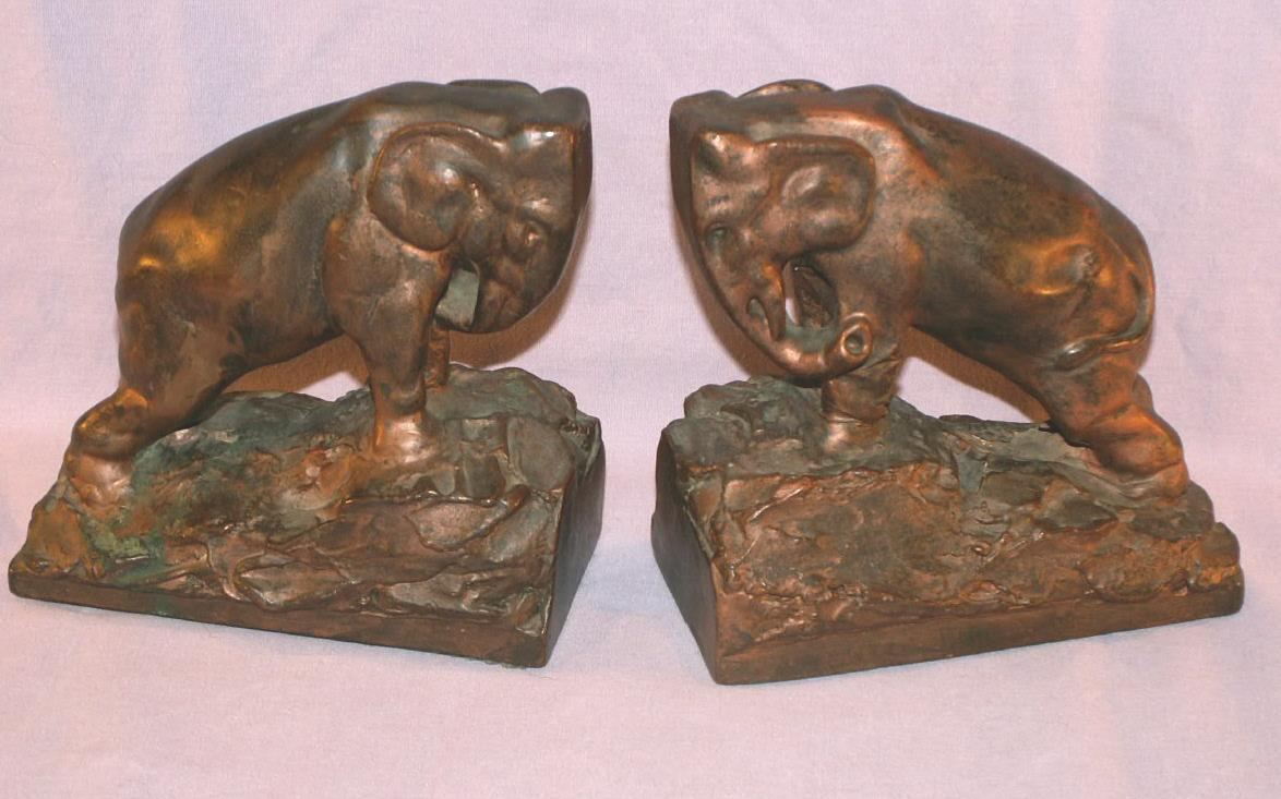 BUTTING HEAD ELEPHANTS Copper Clad Bookends - Metalware