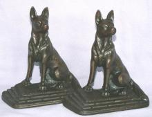 Cast Iron GERMAN SHEPHERD Bookends - Metalware