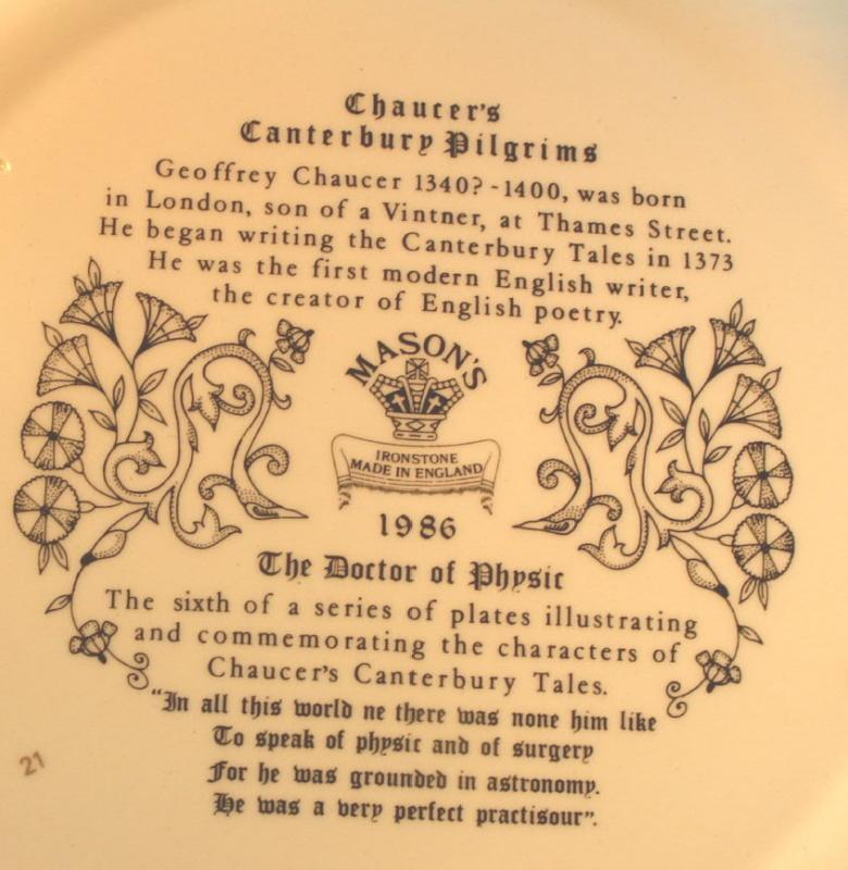 Chaucer's Canterbury Tales Porcelain Plate - THE  DOCTOR OF PHYSIC
