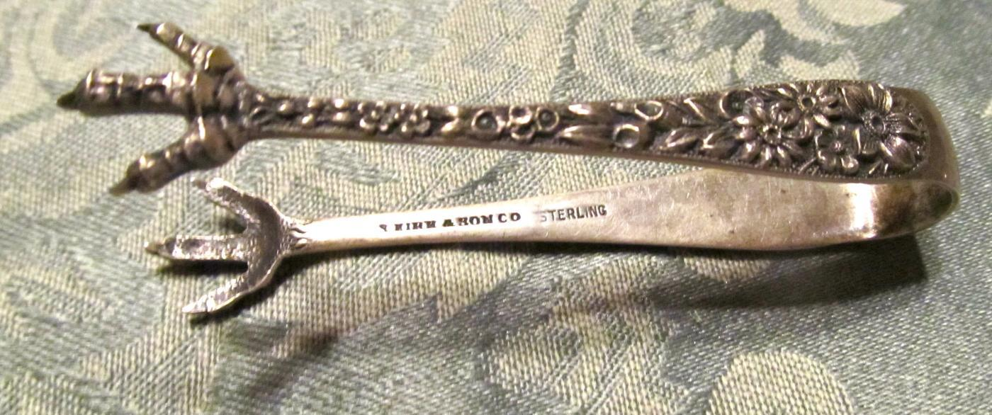 Old Sterling Sugar Tongs KIRK  - Silver