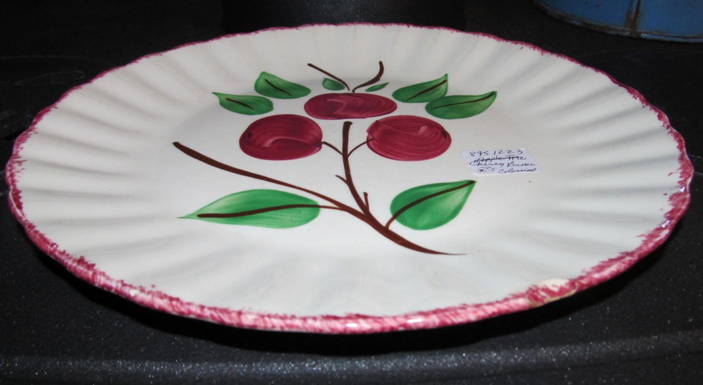 Blue Ridge Cherry Bounce Colonial Plate - Fine Porcelain Pottery