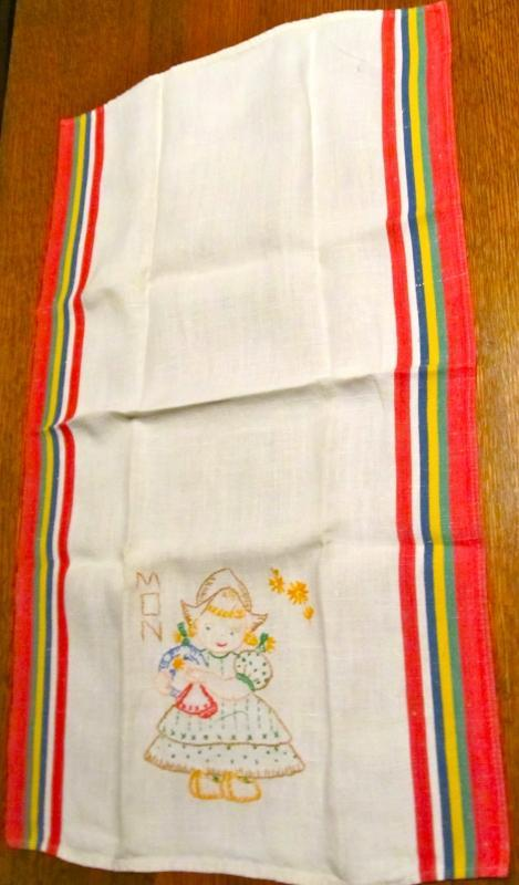 Dutch Embroidery Days of the Week Towels - Textiles
