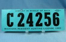 1960 Michigan Resident HUNTING License - Sporting