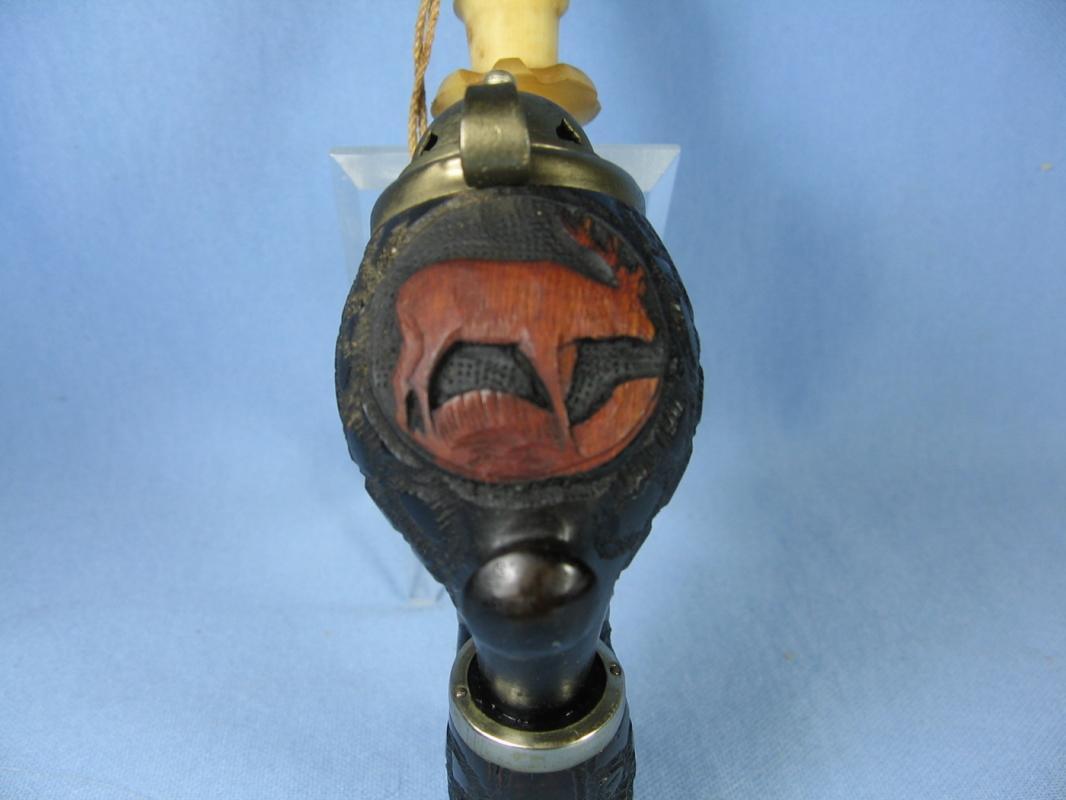 German Carved Wood ELK & Antler Stag Head Smoking Pipe Black Forest Vintage Estate