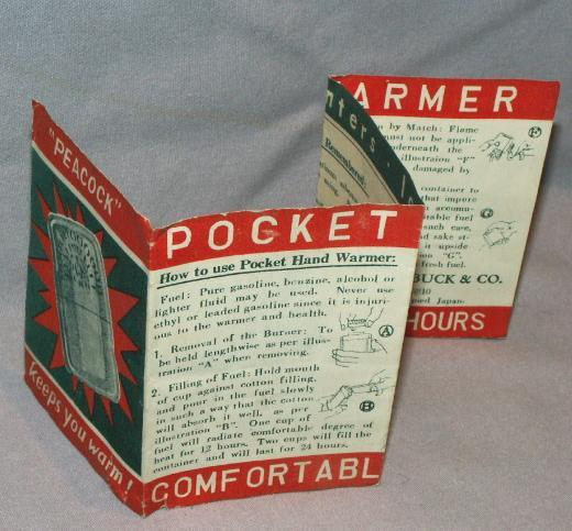 SEARS Occupied Japan Pocket Hand Warmer in Original Pouch - Metalware