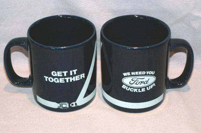 2 FORD Cobalt BUCKLE UP Pottery Coffee Cups - Advertising