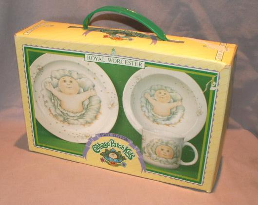 Royal Worcester CABBAGE PATCH KIDS Porcelain Plate Bowl Mug Set in Original Box