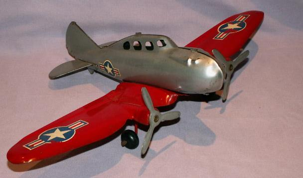 WYANDOTTE Military Twin Engine Tin Toy Airplane