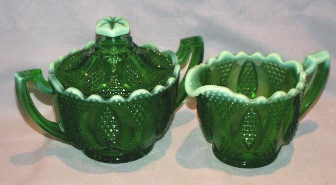 Emerald Green Opalescent Glass Creamer and Sugar