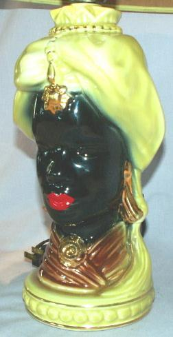 Beautiful Black Lady Electric Table Lamp - Ethnographic
