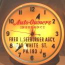 AUTO-OWNERS INSURANCE Advertising Lighted Wall Hanging Clock