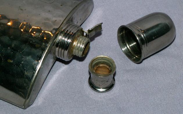 German U.S. Zone Chromed Copper Whiskey Flask - Metalware