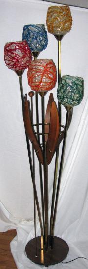 Danish Modern Eames Era ~ Lucite Spaghetti Globe Floor Lamp - Vintage Retro Mid Century Modern Lighting