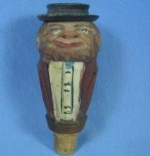 Anri Mechanical Corker Bottle Stopper - Antique Carved Wood  Folk Art