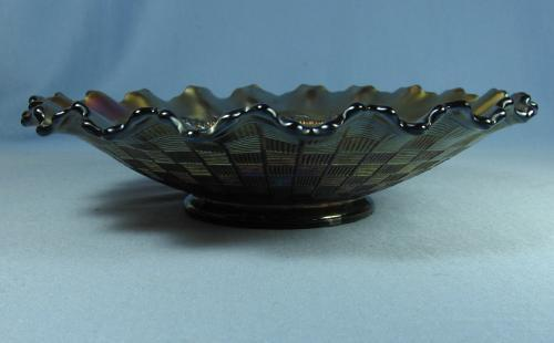 Northwood CARNIVAL GLASS  Grape and Cable Amethyst Carnival Glass Shallow PIECRUST Rim Bowl