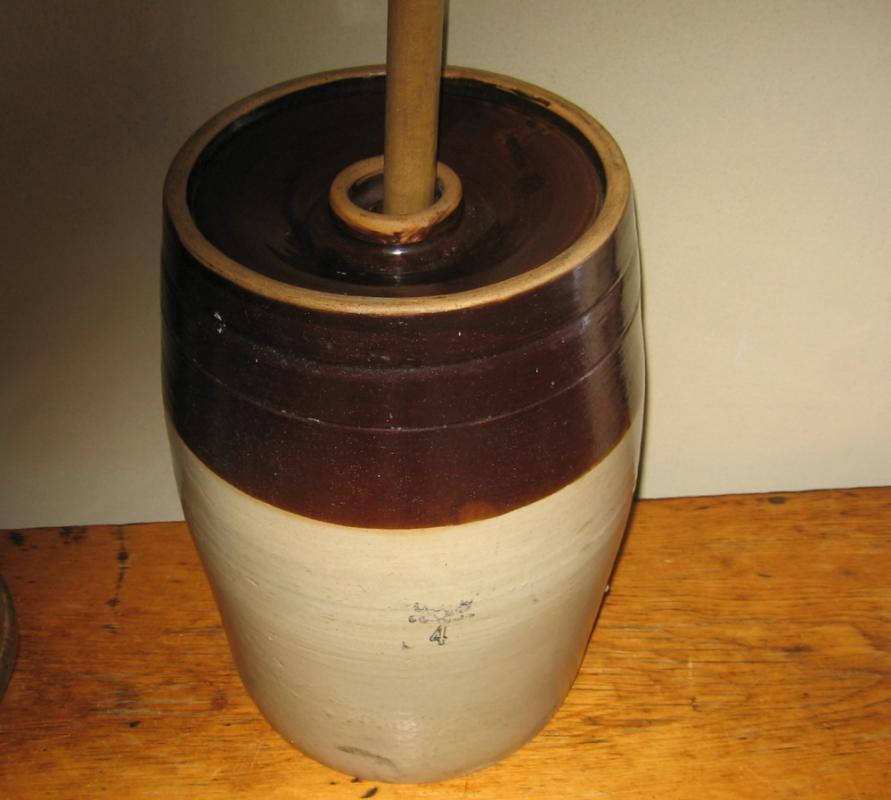 4 Gal BUTTER CHURN Stoneware Crock  Four  - Antique Brown & White Crock  Pottery