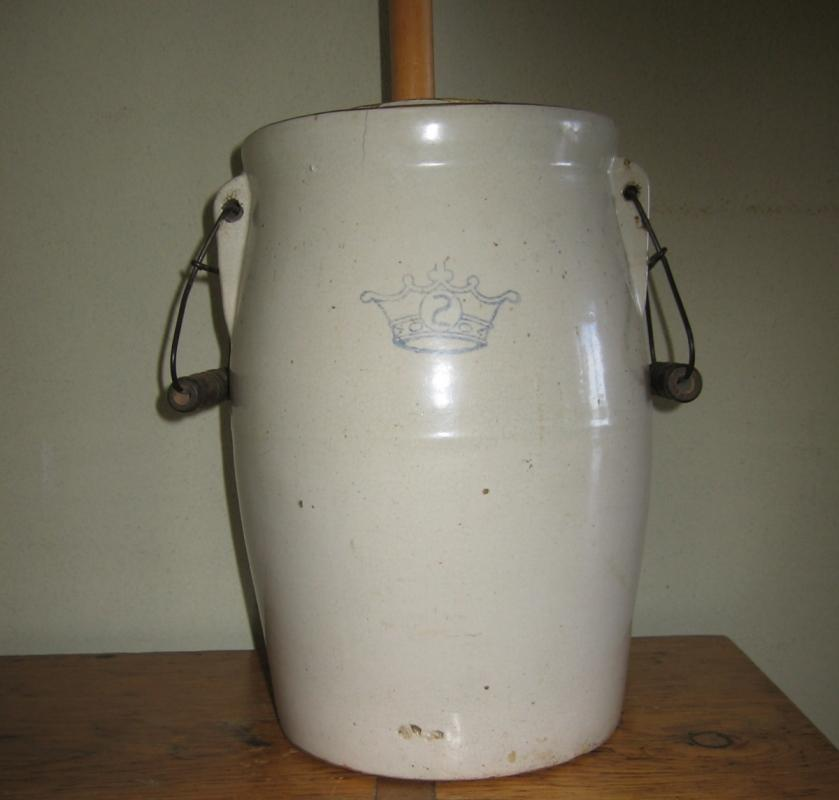 Western Stoneware 2 Gal BUTTER CHURN  - Antique Crock Pottery