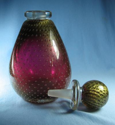 Seguso DECANTER  Bottle  Gold Foil Bullicante - Italian Art Glass