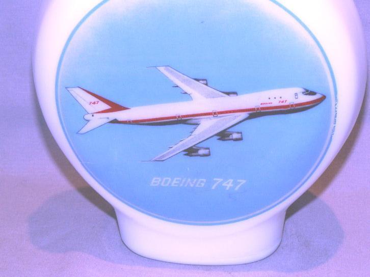 BOEING 747 Milk Glass Decanter Bottle - Advertising