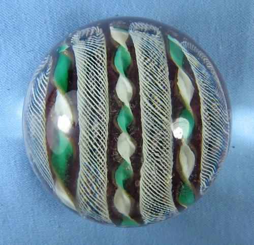 RIBBON & CANE Art Glass PAPERWEIGHT Vintage