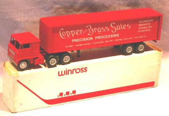 Sales Promotion COPPER AND BRASS SALES Red Toy Semi Truck in Original Box