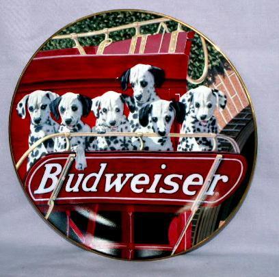 Dalmation 6 Pack BUDWEISER Decorative Porcelain Plate - Advertising
