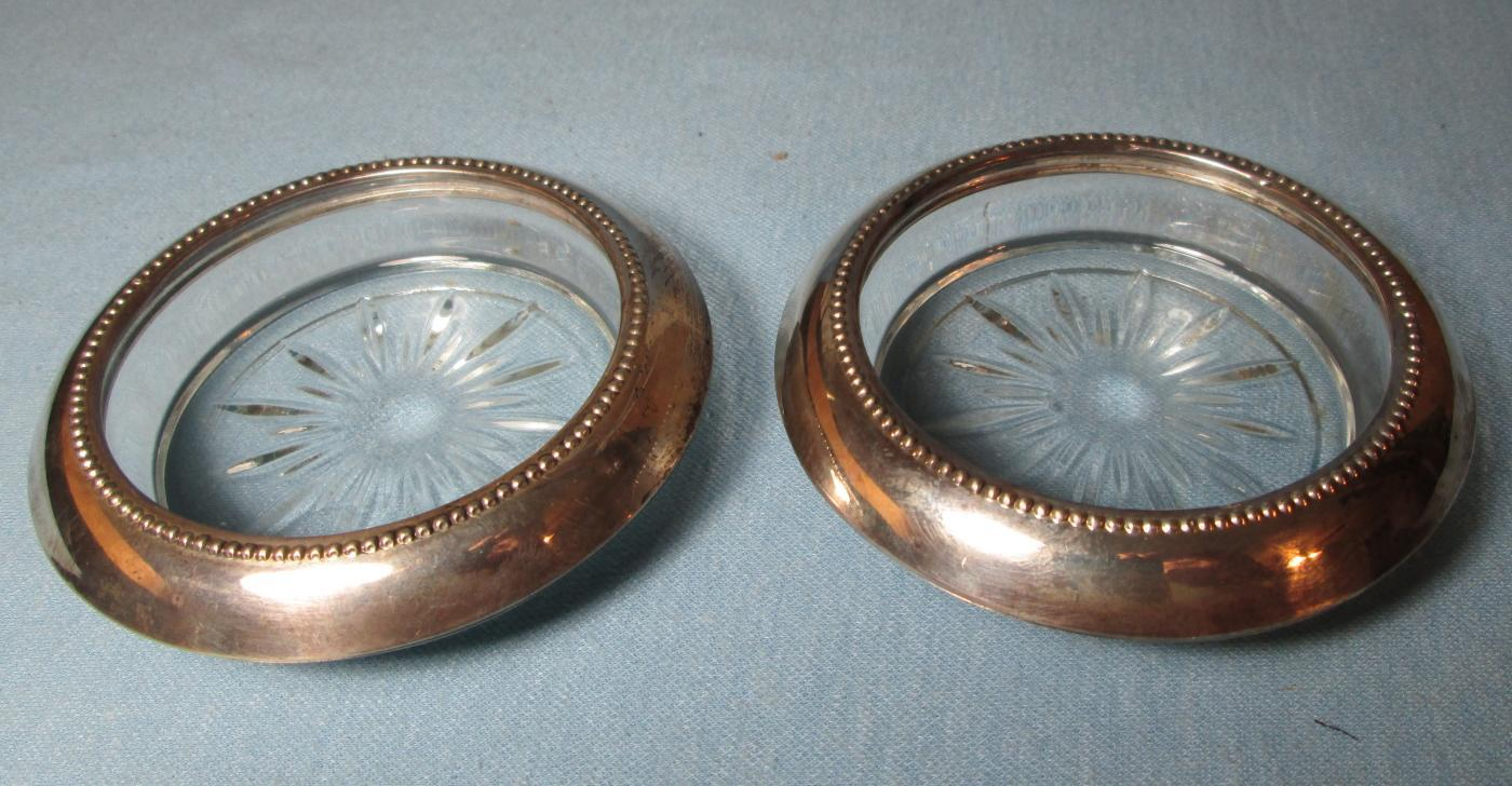 Antique Sterling  Silver & Glass Coasters - Boyce & Jones Sterling Silver & Glass Coaster