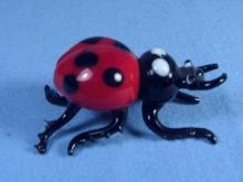 LADY BUG Paperweight Vintage Figurine Hand Blown Art Glass