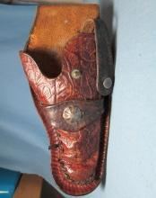 Toy Cap Gun LEATHER HOLSTER - 1950's Large Tooled