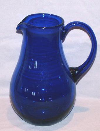 Cobalt Glass Water Pitcher