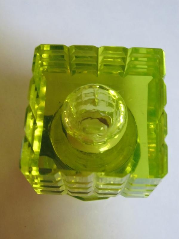 Vaseline Cut Glass  Inkwell - Glass