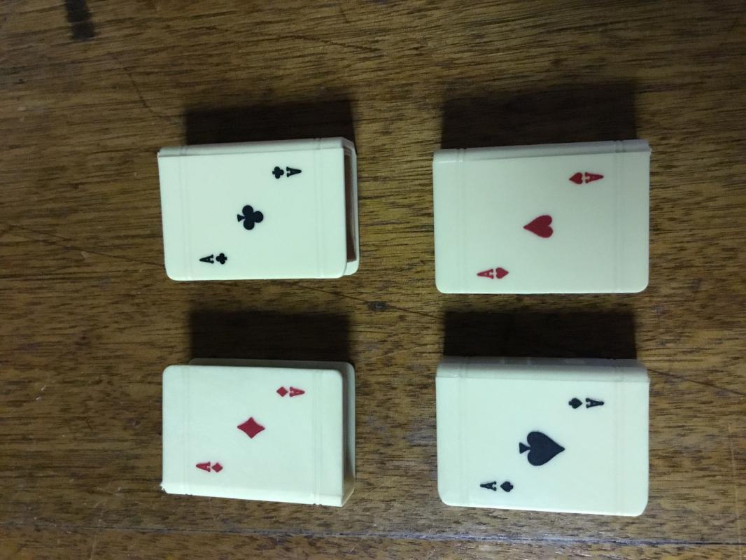 4 Celluloid Matchbox Bridge SPADES - Tobacciana
