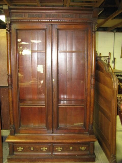 Two  Door  Victorian Walnut  Bookcase Curio China Cabinet