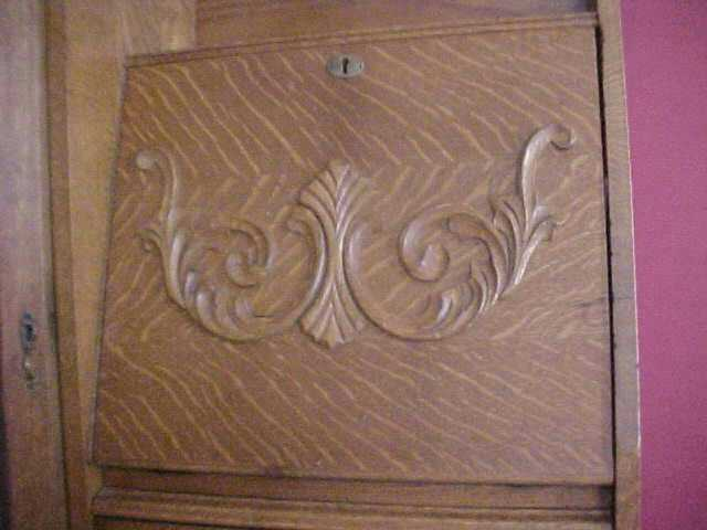 Tiger Oak Secretary / Desk / Bookcase  Curio